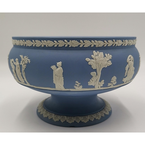 700 - WEDGWOOD BLUE JASPER WARE FOOTED BOWL (Chip To Base)...