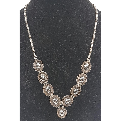 736 - PRESENTED AS A SILVER HEMATITE 29cm NECKLACE (Each Link Stamped 925) (Total Weight 24.1 Gram)...