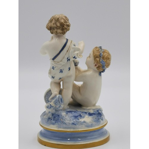 719 - ROYAL WORCESTER MODEL WITH PUTTI / CHERUBS WITH CHICKS IN A NEST (Impressed Mark c1890) (At Fault To...