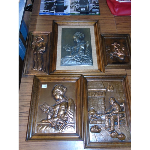 16 - Five French copper plaques & one pewter plaque....