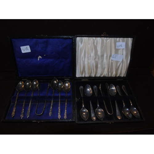 46 - Two cased sets of silver plated teaspoons & tongs....