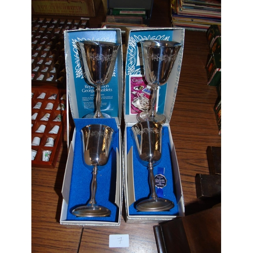 7 - Two boxed Cavalier goblets & two unboxed....