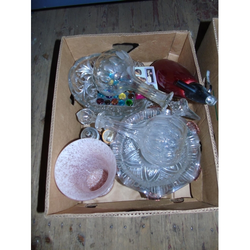 29 - A box of vintage glass ware etc....