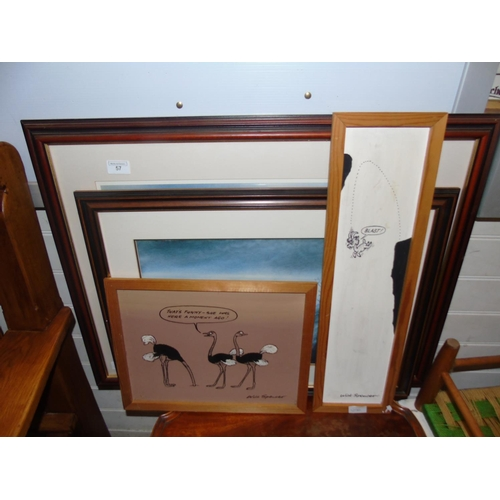 57 - A selection of framed and signed artwork....