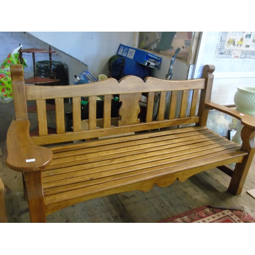 50 - A large and quality built solid oak garden bench....