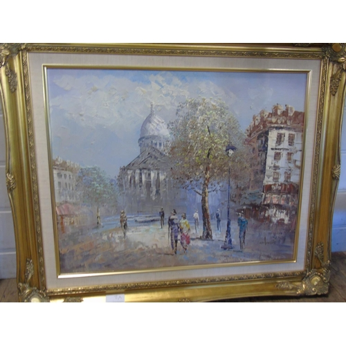 55 - A gilt framed Parisian scene oil on canvas signer Homer....