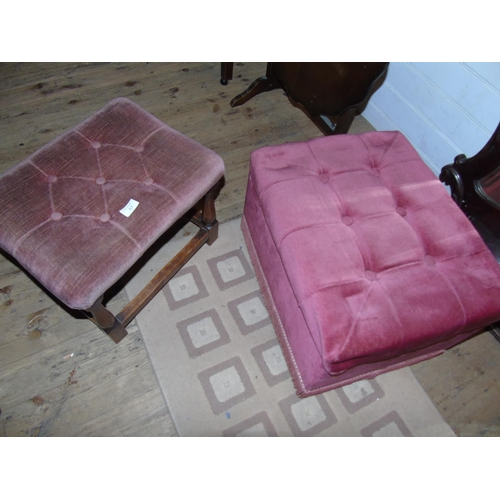 39 - Two pieces of classic mid century furniture a footstool & upholstered storage box...