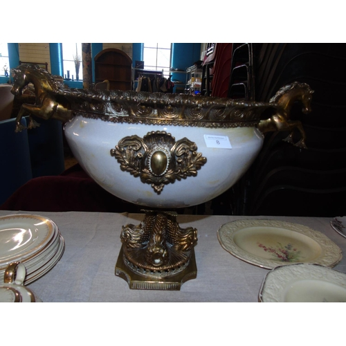 15 - A large and superbly cast Victorian  table centre piece / punch bowl (with repair) 44cm H x 60cm W...