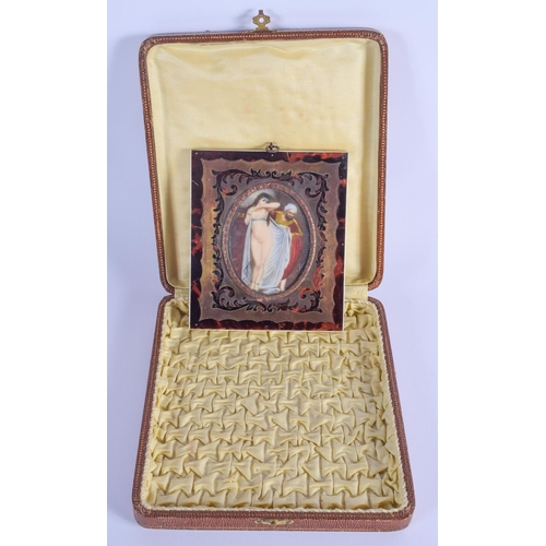 751 - AN ANTIQUE CONTINENTAL PAINTED IVORY PORTRAIT MINIATURE within a Boulle frame. Image 8.5 cm x 6.5 cm...