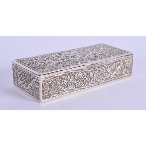 754 - AN INDIAN SILVER BOX. 95 grams. 9.5 cm x 4.5 cm....