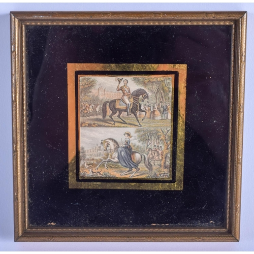 790 - AN UNUSUAL 19TH CENTURY ENGLISH WATERCOLOUR depicting figures upon horseback. Image 5 cm x 6.5 cm....