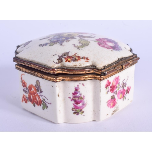 803 - AN 18TH CENTURY PORCELAIN BOX painted with flowers. 8 cm square....