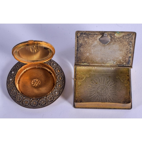 805 - AN ANTIQUE BRASS SNUFF BOX and another. 4 cm x 5.5 cm. (2)...