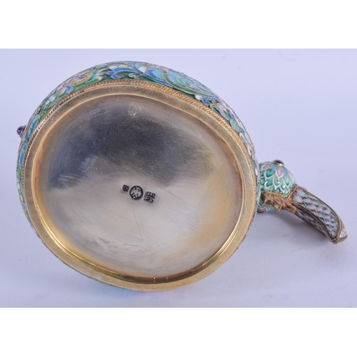 1003 - AN UNUSUAL CONTINENTAL SILVER GILT AND ENAMEL KOVSCH inset with jewels. 286 grams. 11 cm x 14 cm....