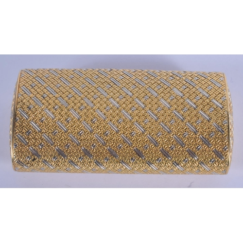 1008 - A FINE ITALIAN 18CT GOLD AND SAPPHIRE RECTANGULAR BOX. 95 grams. 9 cm x 4.5 cm....