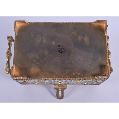 1014 - A LARGE CONTINENTAL JEWELLED SILVER GILT CASKET decorated with birds and foliage. 830 grams. 12 cm x...