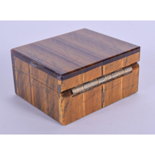 1016 - AN ART DECO TIGERS EYE BOX. 6.5 cm x 5 cm....