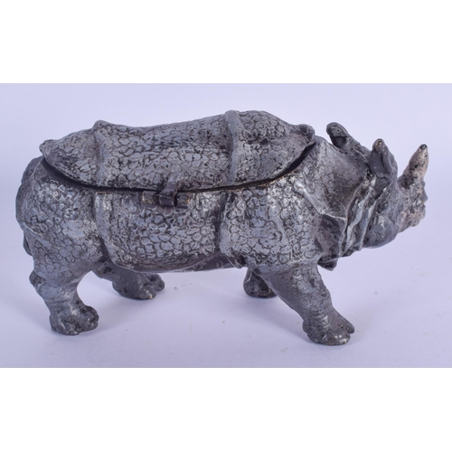 1027 - A CONTEMPORARY COLD PAINTED BRONZE RHINOCEROS INKWELL. 16 cm wide....