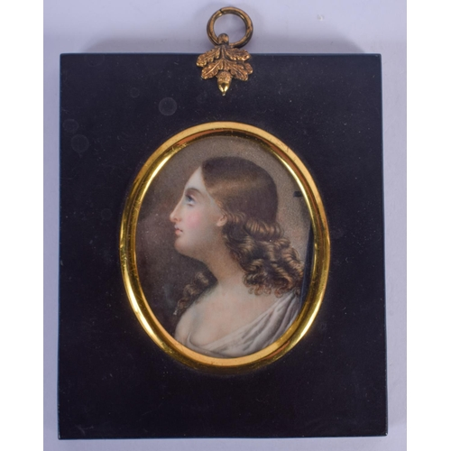 1044 - A FINE 19TH CENTURY CONTINENTAL PAINTED IVORY PORTRAIT MINIATURE depicting a pretty female. Image 7....