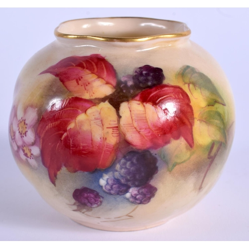 105 - A ROYAL WORCESTER VASE painted with autumnal leaves and berries, by K. Blake, shape G161 date code f...