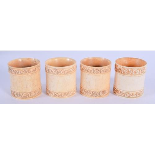 1056 - FOUR CONTINENTAL CARVED BONE NAPKIN RINGS. 4 cm x 3 cm. (4)...