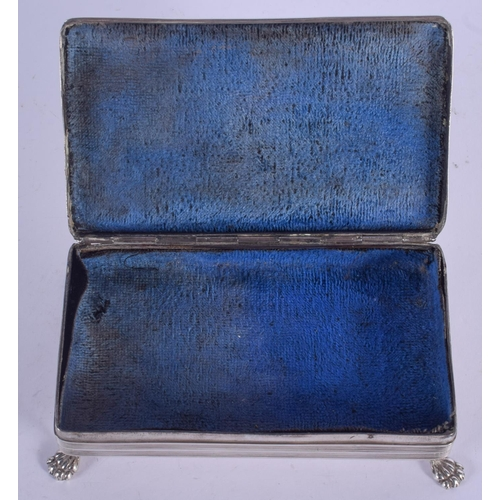 1075 - AN ANTIQUE RECTANGULAR SILVER BOX. 177 grams. 12 cm x 7 cm....