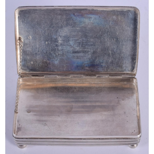 1076 - AN ANTIQUE RECTANGULAR SILVER BOX. 144 GRAMS. 13 cm x 8 cm....