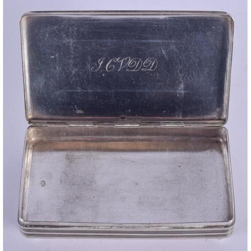 1077 - AN ANTIQUE RECTANGULAR SILVER BOX. 168 grams. 12.5 cm x 7.5 cm....