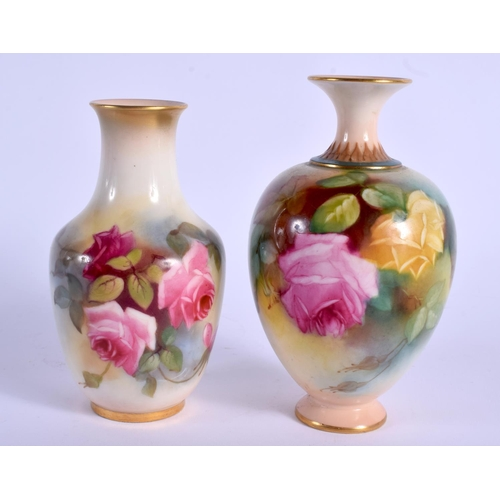 108 - A ROYAL WORCESTER VASE painted with Hadley style roses shape H 302 date code for 1912 and a Royal Wo...