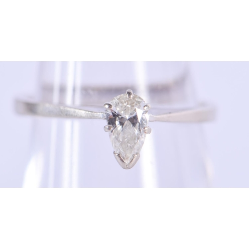 1081 - A 14CT GOLD AND 0.3 CT MARQUISE DIAMOND RING. K/L. 2 grams....