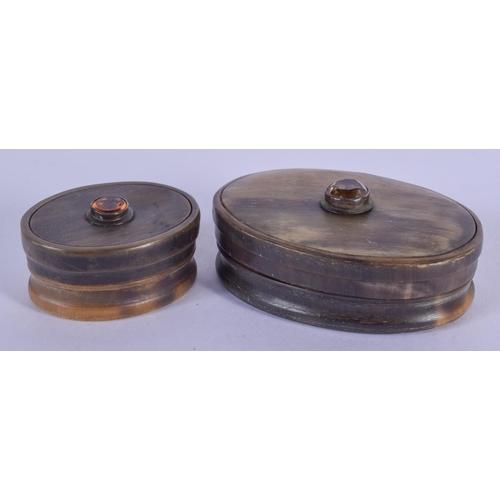 1083 - TWO ANTIQUE SCOTTISH HORN SNUFF BOXES. Largest 7 cm x 3 cm. (2)...