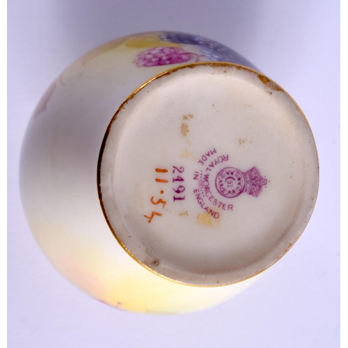 109 - A ROYAL WORCESTER VASE painted with autumnal leaves and berries by K: Blake signed, shape 2491,  dat...