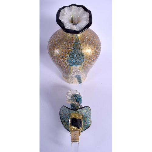 11 - A VERY UNUSUAL 1950S VENETIAN MURANO GLASS DECANTER AND STOPPER formed as a bird like figure wearing...