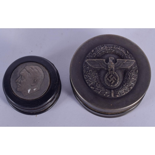 1100 - TWO CONTEMPORARY CONTINENTAL MILITARY BOXES. Largest 6 cm diameter. (2)...