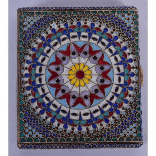 1106 - A CONTINENTAL SILVER AND ENAMEL CIGARETTE CASE. 134 grams. 7 cm x 8 cm....