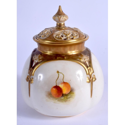 111 - A ROYAL WORCESTER VASE AND COVER painted with fruit by Ricketts, signed, shape 176 H, date code for ...