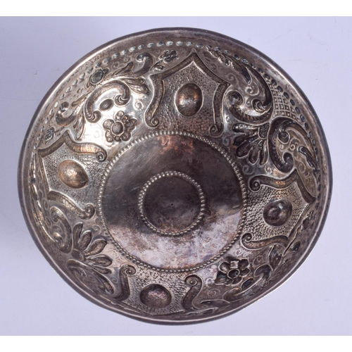 1110 - A 19TH CENTURY EUROPEAN EMBOSSED SILVER SUGAR BOWL decorated with motifs. 125 grams. 12 cm diameter....