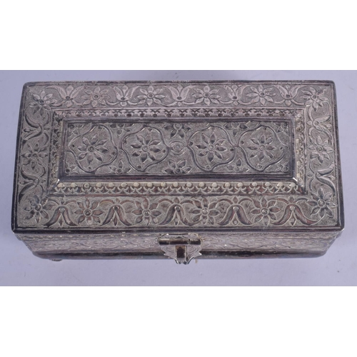 1126 - A 19TH CENTURY ASIAN MIDDLE EASTERN SILVER CASKET decorated with foliage. 349 grams. 13 cm x 6 cm....
