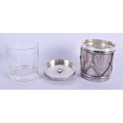 1128 - A LOVELY FRENCH CARTIER SILVER DRUM FORM WHISKEY TUMBLER BOX with tumbler. Silver 200 grams. 10 cm  ...