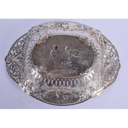 1129 - A LARGE 19TH CENTURY CONTINENTAL SILVER OPENWORK BASKET decorated with figures and landscapes. 487 g...