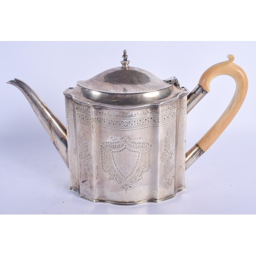 1131 - AN ANTIQUE IVORY HANDLED SILVER TEAPOT AND COVER. 864 grams. 28 cm x 17 cm....