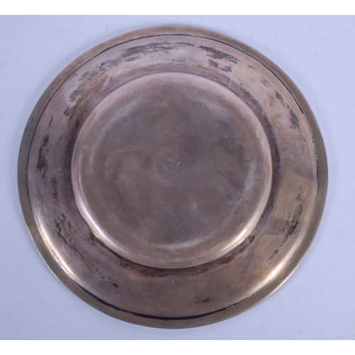 1139 - AN ANTIQUE RUSSIAN FABERGE SILVER DISH. 163 grams. 16.5 cm diameter....