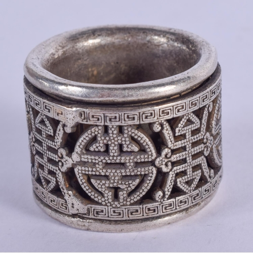 1161 - A CHINESE SILVER ARCHERS RING. 39 grams. 3 cm diameter....