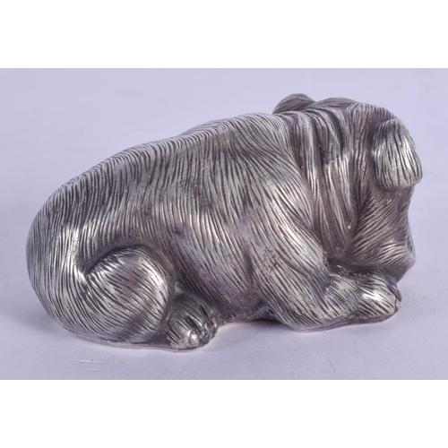 1170 - A CONTINENTAL SILVER DOG. 62 grams. 7 cm x 3.5 cm....