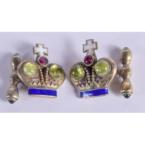 1193 - A PAIR OF CONTINENTAL SILVER AND ENAMEL JEWELLED CUFFLINKS. 20 grams. 2.5 cm x 2 cm....