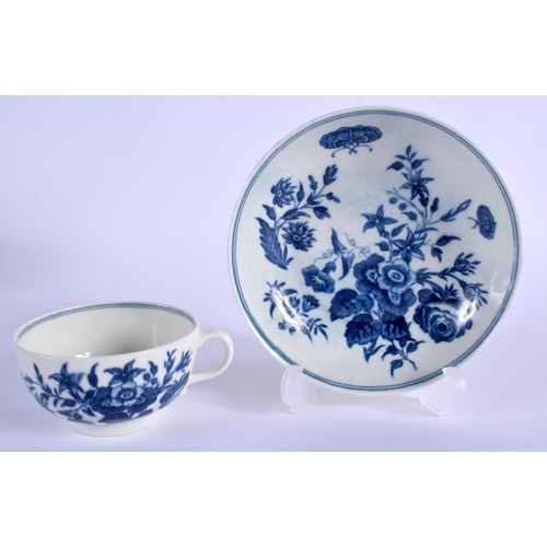 130 - A 18TH C. WORCESTER HANDLED TEABOWL AND SAUCER decorated with blue flowers, script 'W' mark. Saucer ...