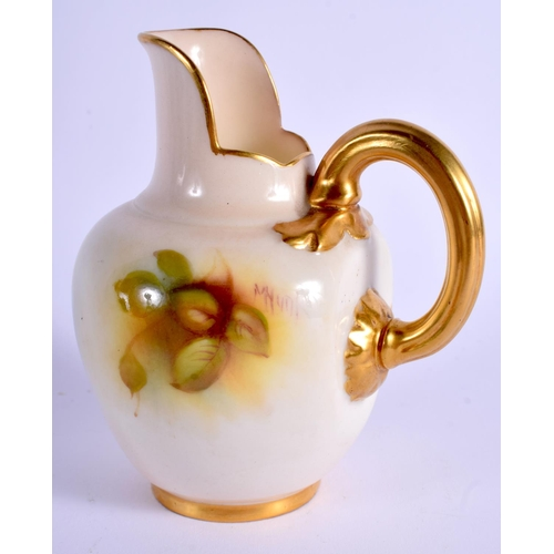 135 - A ROYAL WORCESTER FLAT BACK JUG painted with roses in Hadley style by Millie Hunt, shape1094, 1937. ...