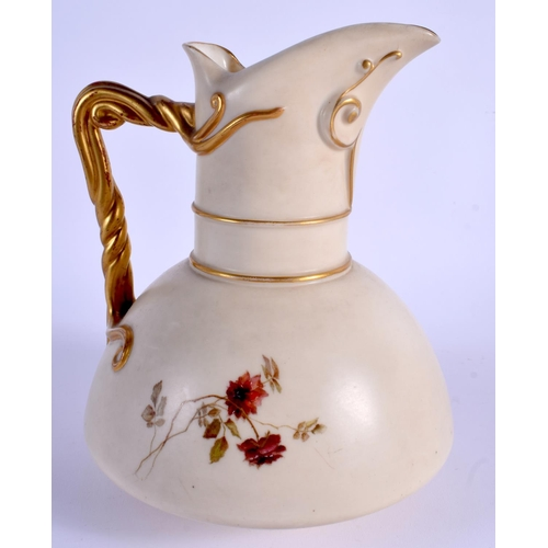 139 - Royal Worcester large ivory ewer painted flowers, shape 1378, date 1893, monogram for Edward Raby. 1...