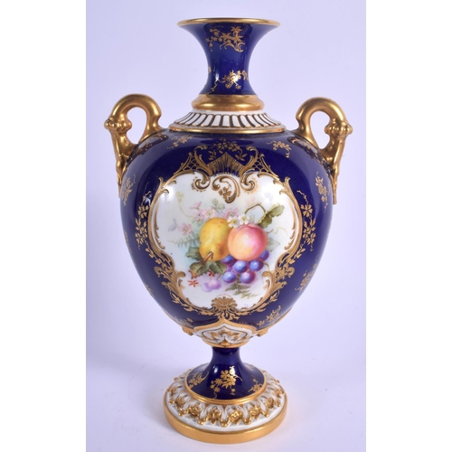 142 - Royal Worcester two handled vase with fruit on a blue ground by Hawkins, signed, marked LEADLESS GLA...