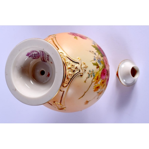 143 - Royal Worcester blush ivory vase and cover painted with flowers, shape 1654, date code 1901. 22.5cm ...